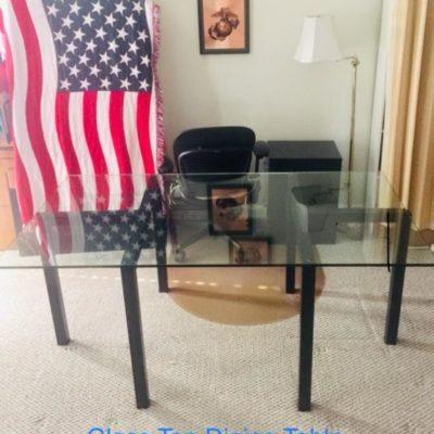 Glass top Dining Table, l-shaped desk, Oak file cabinet