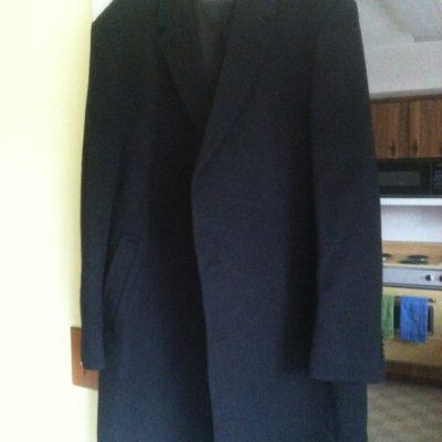Man's new, charcoal-black, 100% cashmere dress overcoat